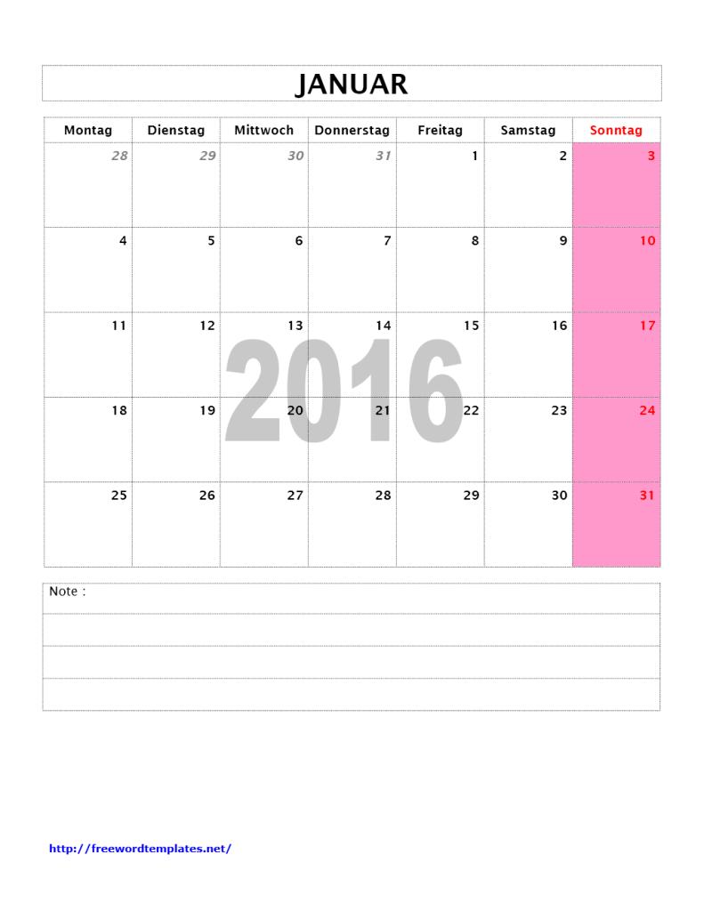 Kalender 2016 Monat