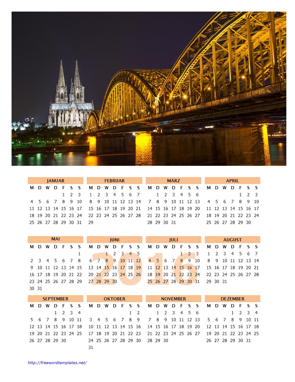 Kalender 2016 mit Foto | Word Vorlagen | Word Vorlagen Kostenlos ...