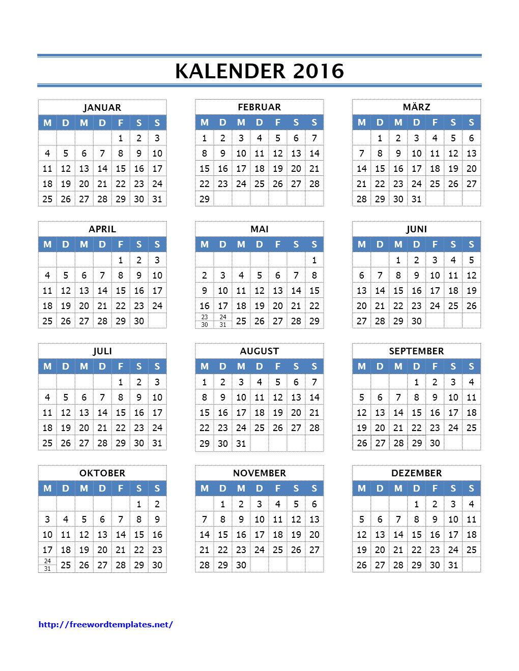 Kalender 2016 Vorlagen
