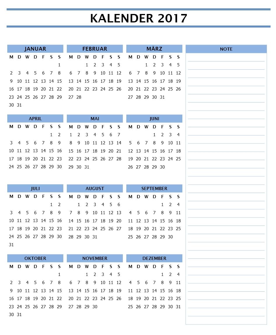 Kalender 2017 Vorlagen | Word Vorlagen | Word Vorlagen Kostenlos ...