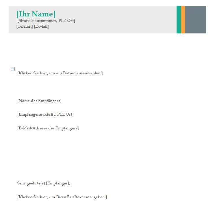 Geschäftsbrief Vorlage | Word Vorlagen | Word Vorlagen Kostenlos ...