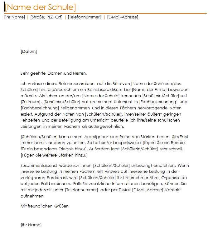 empfehlungsschreiben schule muster - Ideal.vistalist.co