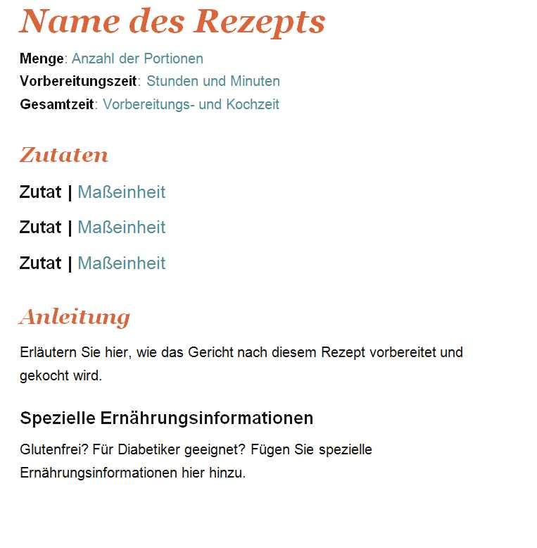 Gemütlich Microsoft Rezeptbuch Vorlage Ideen - Entry Level Resume ...