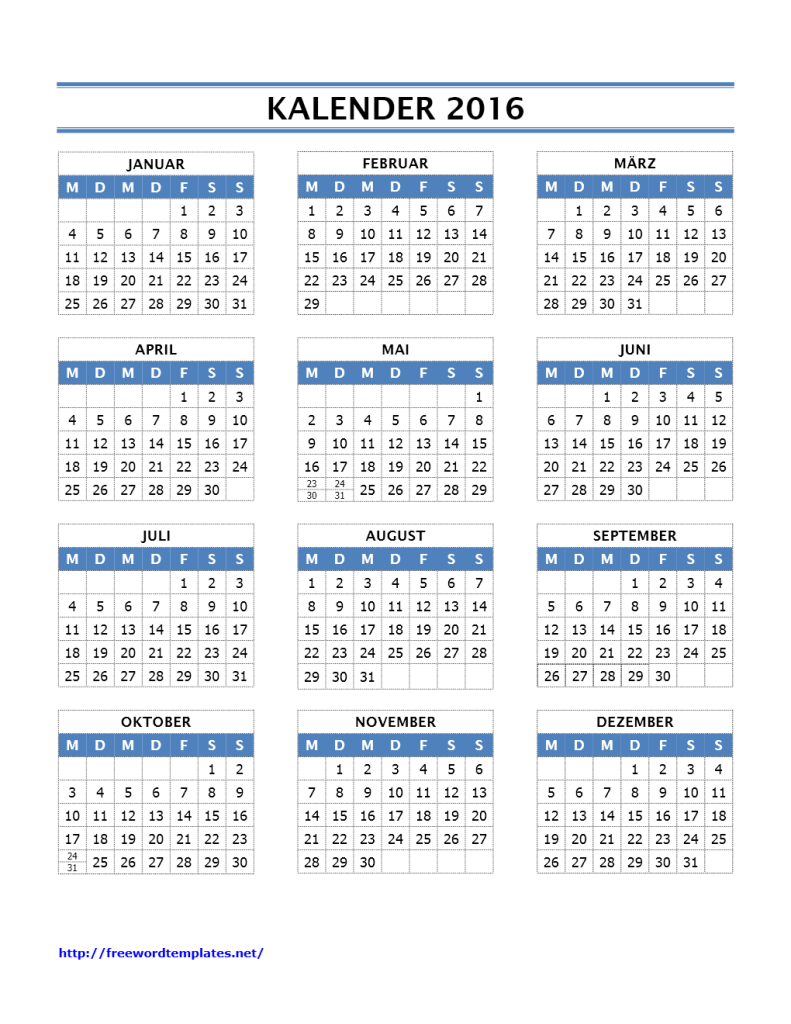 Kalender 2016 Vorlagen | Word Vorlagen | Word Vorlagen Kostenlos ...