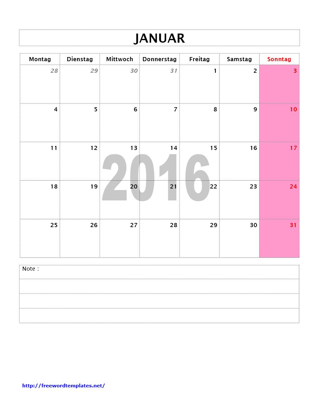 Kalender Monat 2016 | Word Vorlagen | Word Vorlagen Kostenlos ...