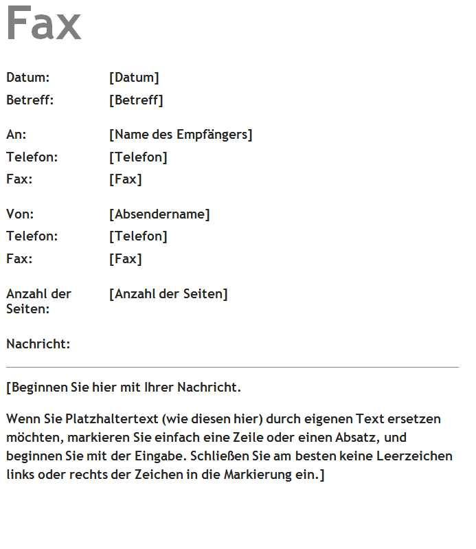 Faxdeckblatt Vorlage Word Vorlagen Word Vorlagen Kostenlos